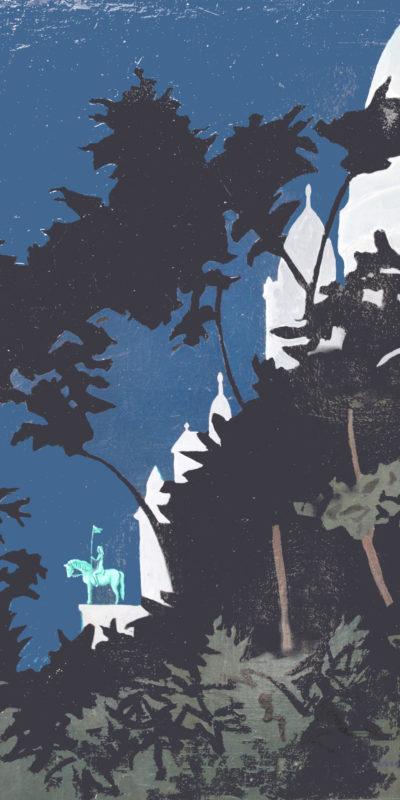 Sacré Coeur by Night   Huile   65x28
