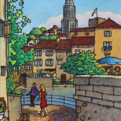 Au pied du Pont Vieux Confolens | Art naïf