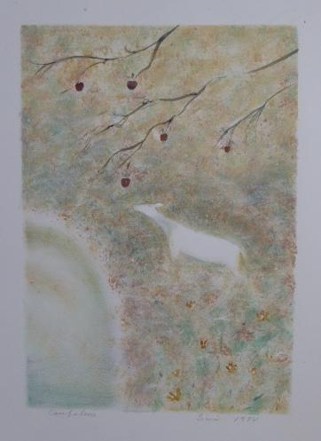 Biche sous pommier | Acrylique | 33x57