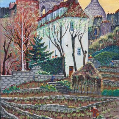 Vignes de Montmartre | Acrylique | 30x60