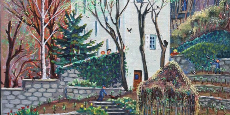 Vignes de Montmartre   Acrylique   30x60