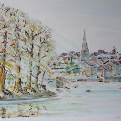 Sur les bors de Vienne, Confolens | Aquarelle