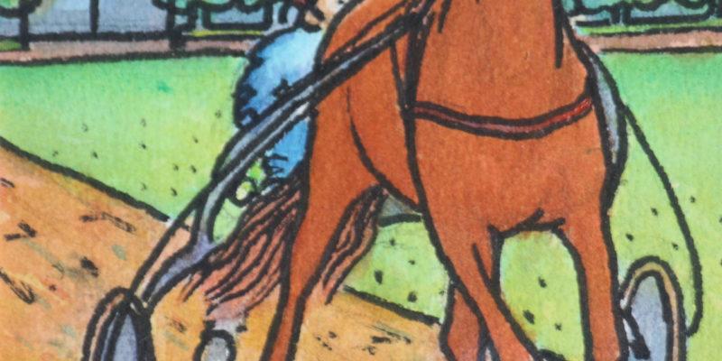 Cheval de course et attelage | Aquarelle | 20x24