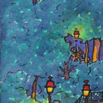 Escaliers Montmartrois de Nuit | Aquarelle | 9x17