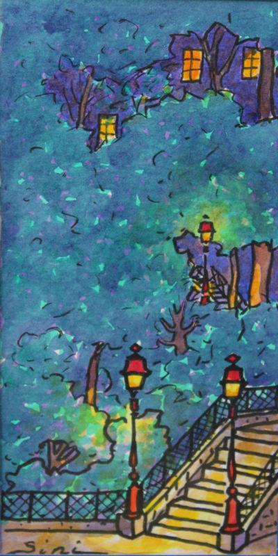 Escaliers Montmartrois de Nuit   Aquarelle   9x17