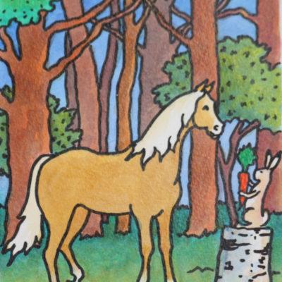 Le cheval et le lapin | Aquarelle | 12x18,5