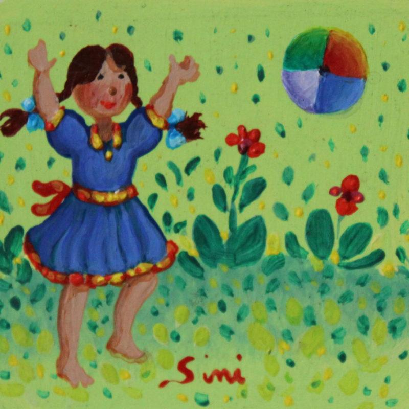 Fillette et ballon | Acrylique | 6x6
