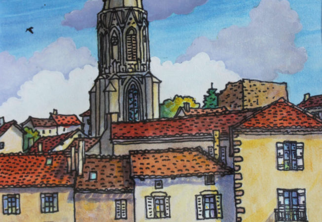 Clocher du village | Aquarelle | 19x31