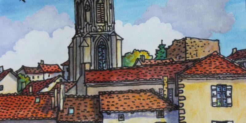 Clocher du village   Aquarelle   19x31