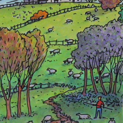 Le berger et ses moutons | Aquarelle | 195x325